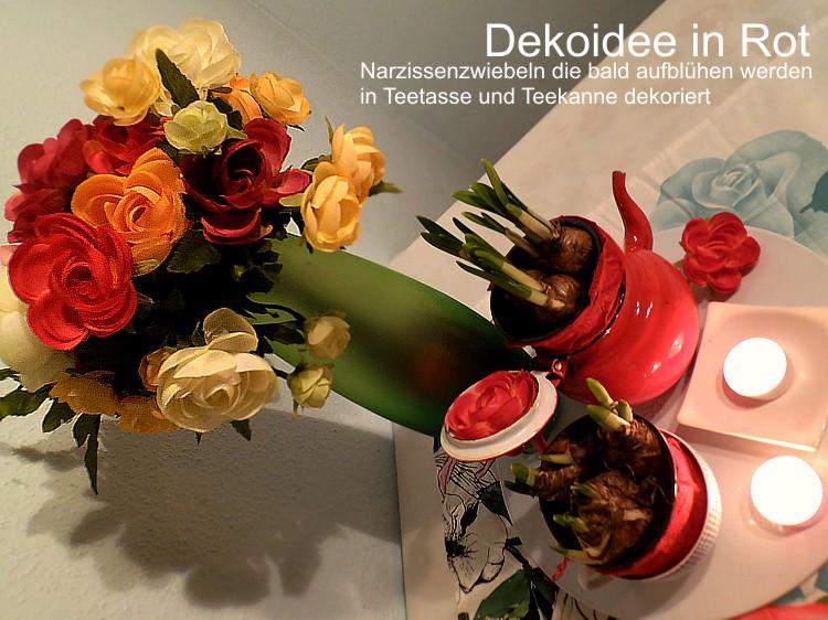 Dekoidee in Rot - Teekanne ud Tasse mit Blumenzwiebeln