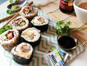 Schwenker Sushi mit Fleisch Schwushi rezept resteverwertung wasabi