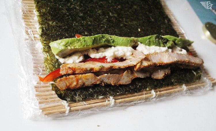 Sushi mit Fleisch schwenker-einrollen-sushi-rezept
