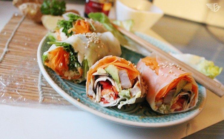 Sushi mit Fleisch sommerrollen