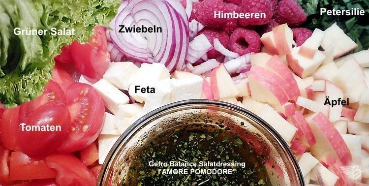 zutaten für fruchtigen Salat im Glas